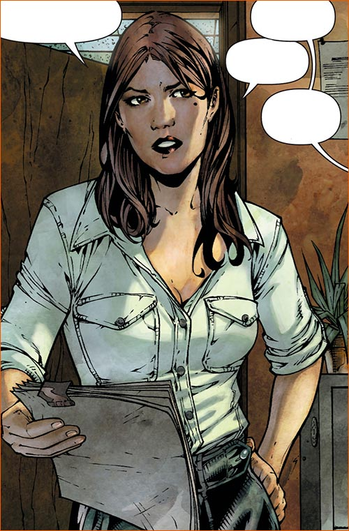 Jennifer Carpenter alias Loïs Lane (Superman: Earth One #1 - planche 18, case 3).