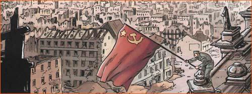 Drapeau rouge sur le Reichstag selon Denis Rodier.