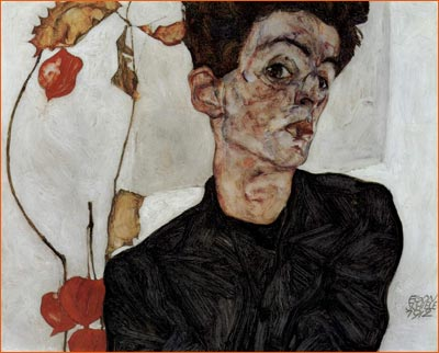 Autoportrait aux alkékenges d'Egon Schiele.