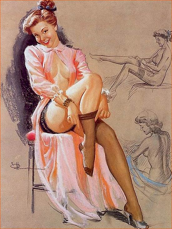 Illustration de Knute Munson pour le calendrier de pin-up Brown & Bigelow.