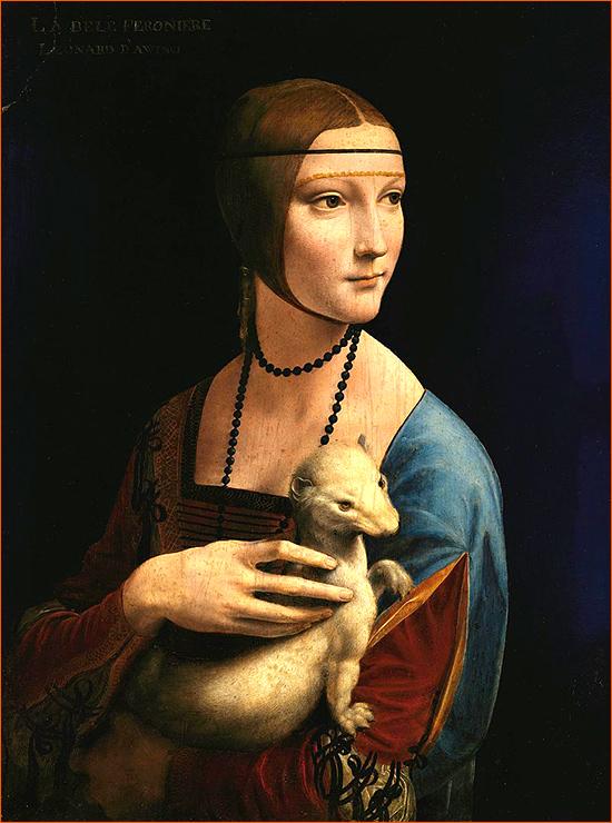 La dame à l'hermine de Léonard de Vinci.