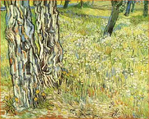 Pine Trees and Dandelions in the Garden of Saint-Paul Hospital de Vincent Van Gogh.