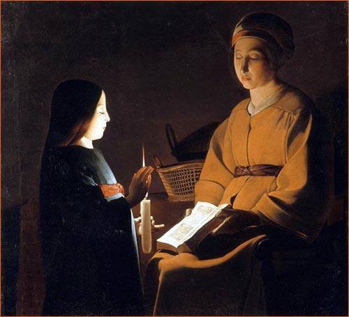 L'éducation de la Vierge au livre de Georges de La Tour.