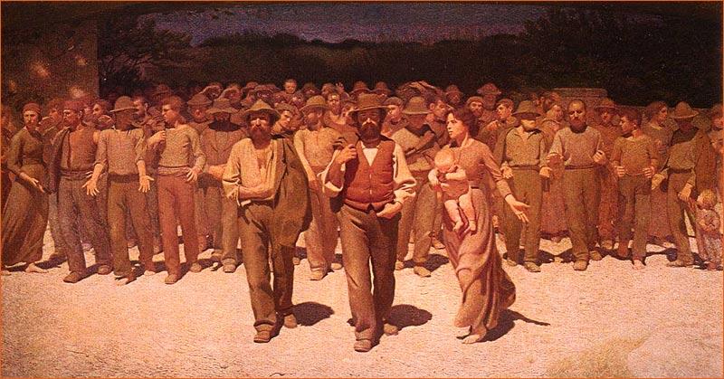 Il Quarto Stato de Giuseppe Pellizza exposé au museo del Novecento de Milan.