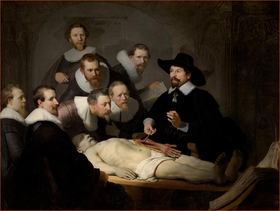La leçon d'anatomie du docteur Nicolaes Tulp de Rembrandt exposé au musée Mauritshuis de La Haye.