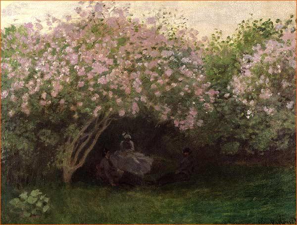Le repos sous les lilas de Claude Monet exposé au musée d'Orsay à Paris.
