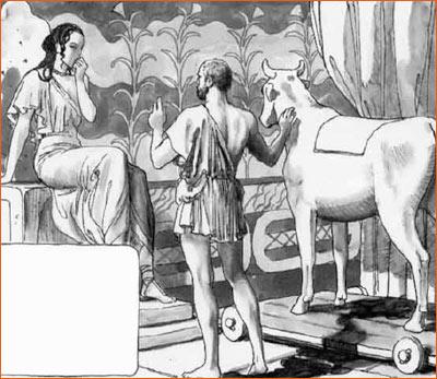 Dédale montrant la génisse de bois à Pasiphaé selon Milo Manara