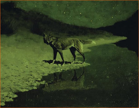 Moonlight, Wolf de Frederic Remington.