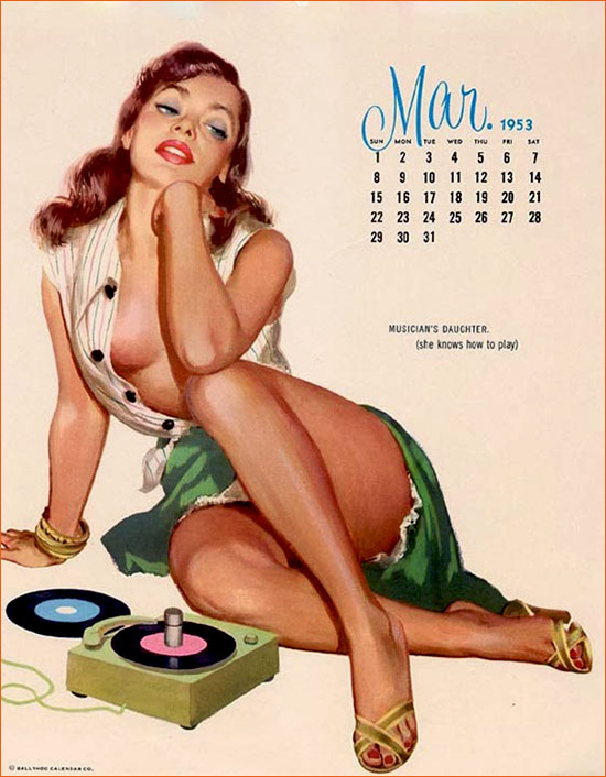 Musician's Daughter de John Frederick Smith pour le calendrier Ballyhoo Pin Up (1953).