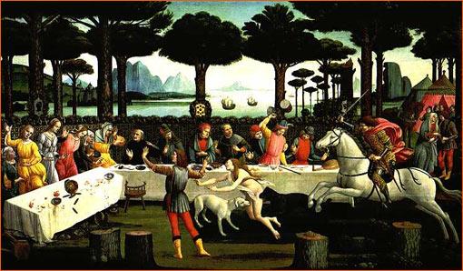 L'Histoire de Nastagio degli Onesti (Troisième panneau) de Sandro Botticelli.