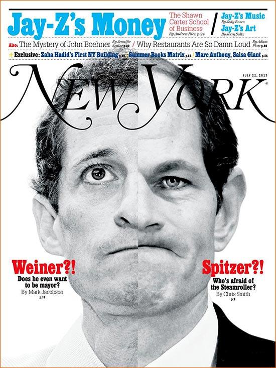 Photographies d'Anthony Weiner et Eliot Spitzer par R Umar Abbasi et Mary Altaffer pour la Une de New York magazine (2013).
