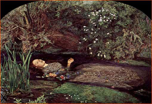 La mort d'Ophélie de John Everett Millais.