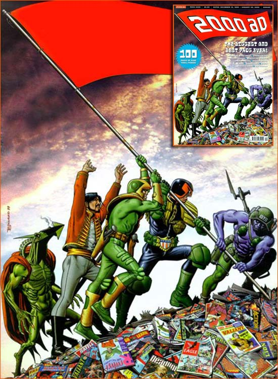 Raising the flag on Iwo Jima selon Brian Bolland.
