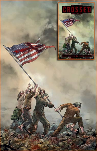 Raising the flag on Iwo Jima selon Jacen Burrows.