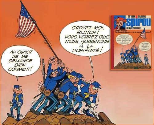 Raising the flag on Iwo Jima selon Willy Lambil.