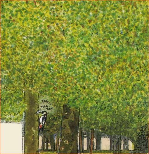Rosiers sous les arbres selon Michel Plessix.