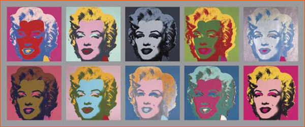 Ten Marilyns d'Andy Warhol.