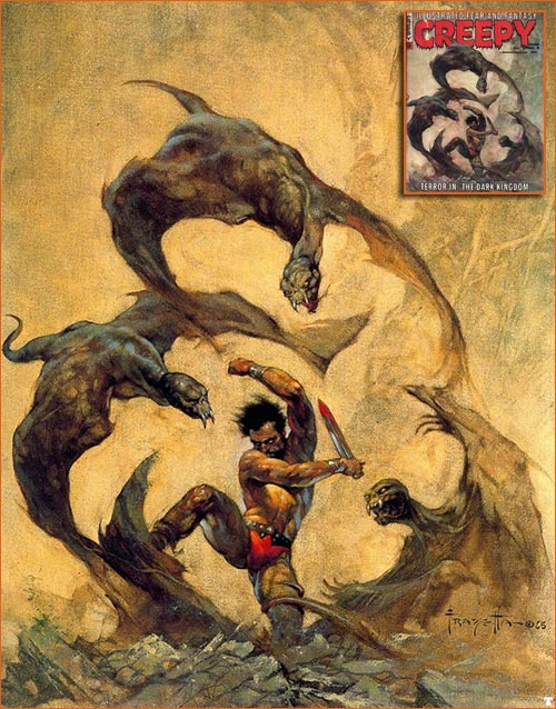 Winged Terror de Frank Frazetta pour la couverture de Creepy.