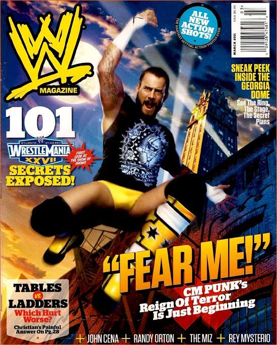 CM Punk pour la couverture de WWE magazine de mars 2011.