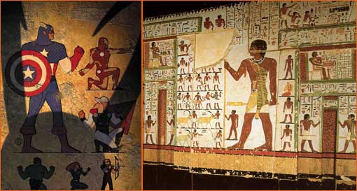 Age of Apocalypse #2 de Christian Nauck à la manière d'une fresque égyptienne.