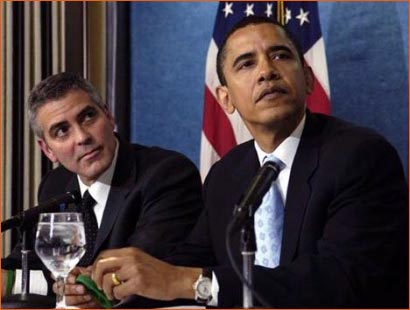Photographie de George Clooney et Barack Obama par Mannie Garcia pour Associated Press.