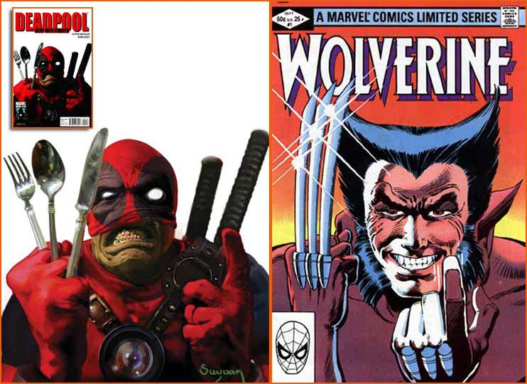 Deadpool: Merc With A Mouth #10 (Arthur Suydam) et Wolverine Limited Series #1 (Frank Miller).