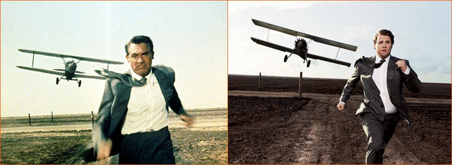 La mort aux trousses (Alfred Hitchcock) selon Art Streiber avec Seth Rogen en lieu et place de Cary Grant.