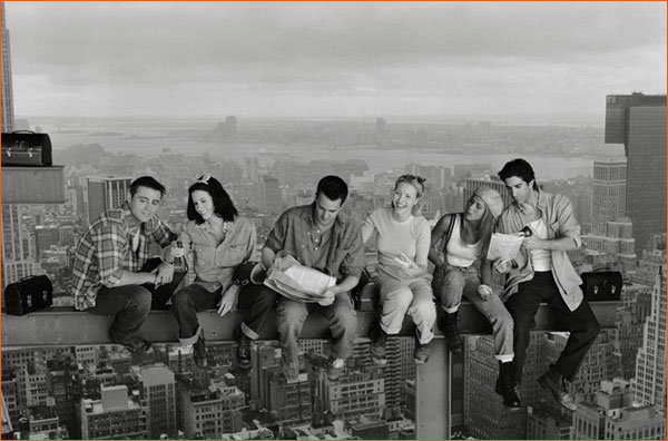 Friends version Lunch atop a Skyscraper.