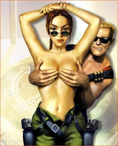 FanArt Lara Croft et Duke Nukem.