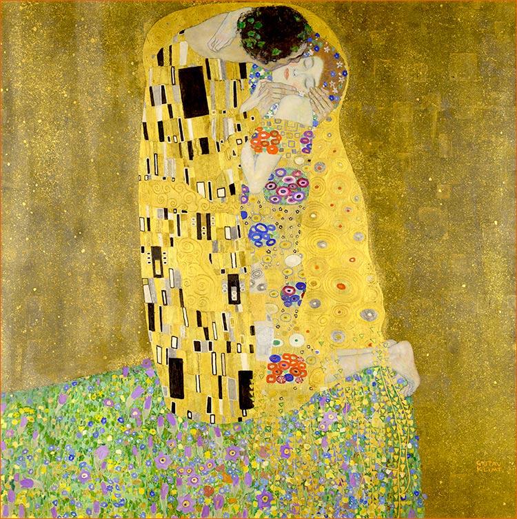 Le baiser de Gustav Klimt exposé à l'Österreichische Galerie de Vienne.