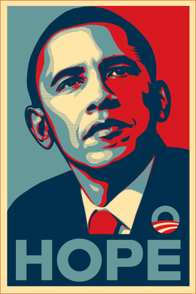 The Barack Obama Hope poster de Shepard Fairey.