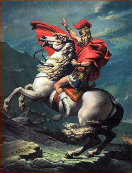 Bonaparte franchissant le Grand-Saint-Bernard selon Albert Uderzo.