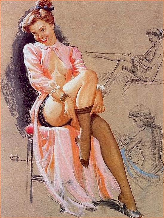 Illustration de Knute Munson pour le calendrier de pin-up Brown & Bigelow.