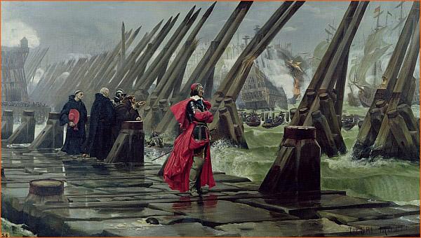 Le Cardinal de Richelieu au siège de La Rochelle de Henri-Paul Motte.