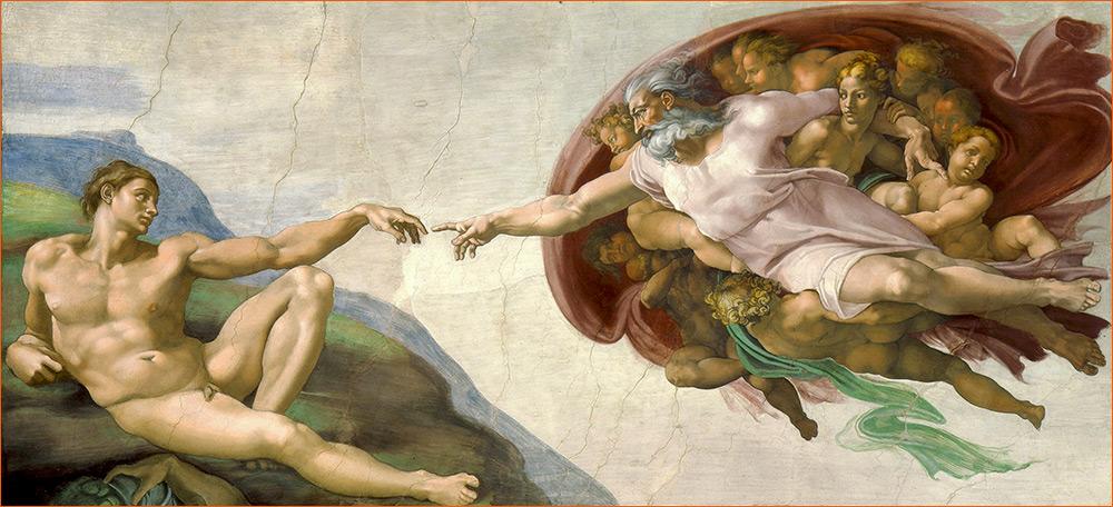 La Création d'Adam de Michel-Ange.