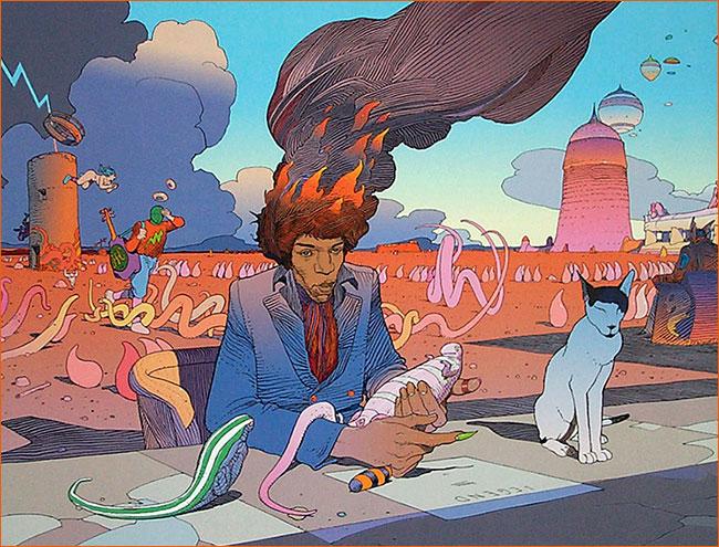 Jimi Hendrix selon Mœbius.