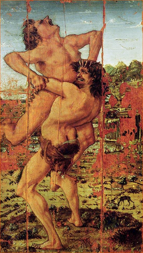 Hercule et Antée d'Antonio del Pollaiuolo exposé à La galerie des Offices de Florence (~1470).