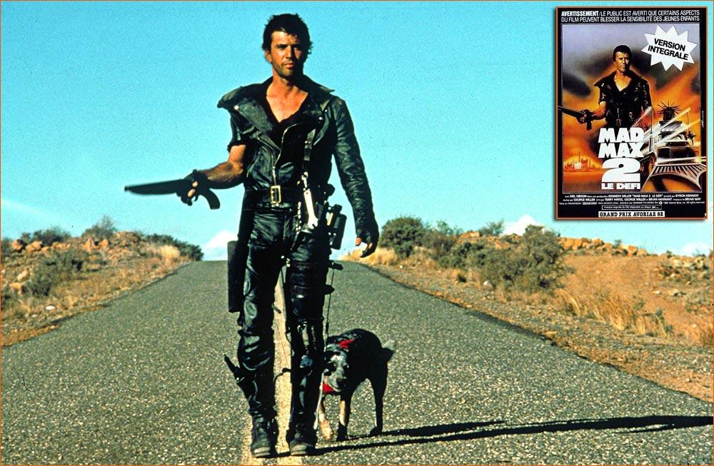 Photographie de Mel Gibson sur le tournage de Mad Max 2 - Le Défi de George Miller (1981).