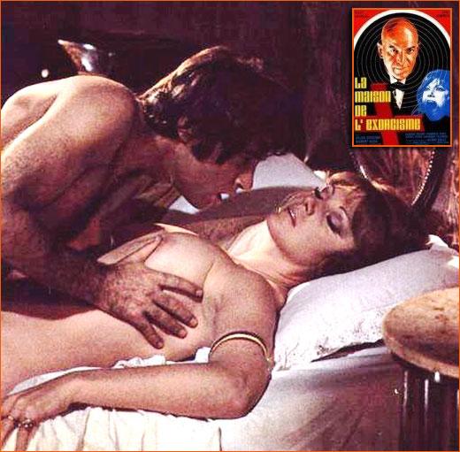 Photographie de Sylva Koscina et Gabriele Tinti sur le tournage de La maison de l'exorcisme de Mario Bava et Alfredo Leone (1973).