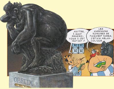 Le Penseur selon Albert Uderzo.