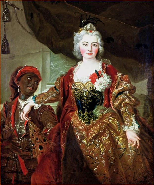 Portrait de la princesse Rakoczi et de son négrillon de Nicolas de Largillière exposé au musée d'Aquitaine Bordeaux (1722).