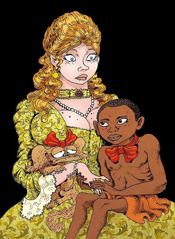 Portrait de la princesse Rakoczi et de son négrillon selon Joann Sfar.