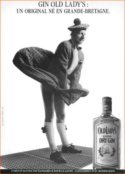 Affiche publicitaire du gin Old Lady's.