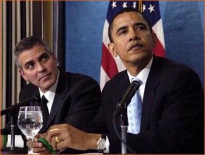 Photographie de George Clooney et Barack Obama par Mannie Garcia pour Associated Press.