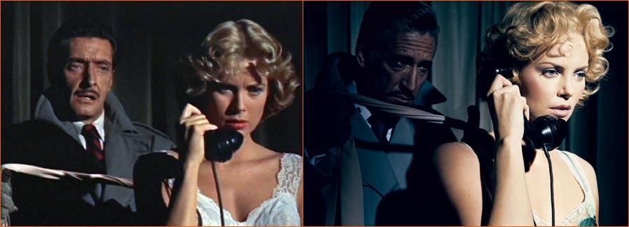 Le Crime était presque parfait (Alfred Hitchcock) selon Norman Jean Roy avec un acteur (?) et Charlize Theron en lieu et place d'Anthony Dawson et Grace Kelly.