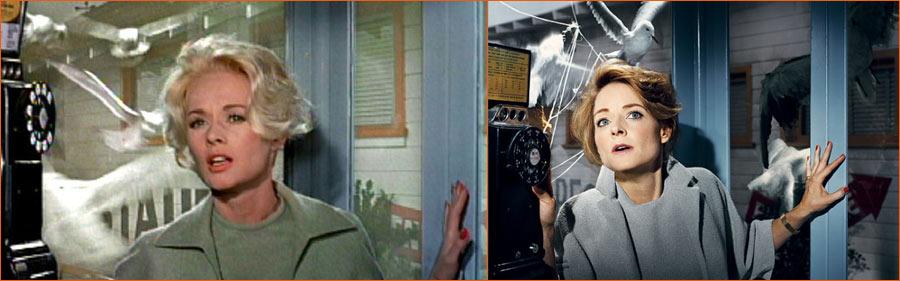 Les oiseaux (Alfred Hitchcock) selon Norman Jean Roy avec Jodie Foster en lieu et place de Tippi Hedren.