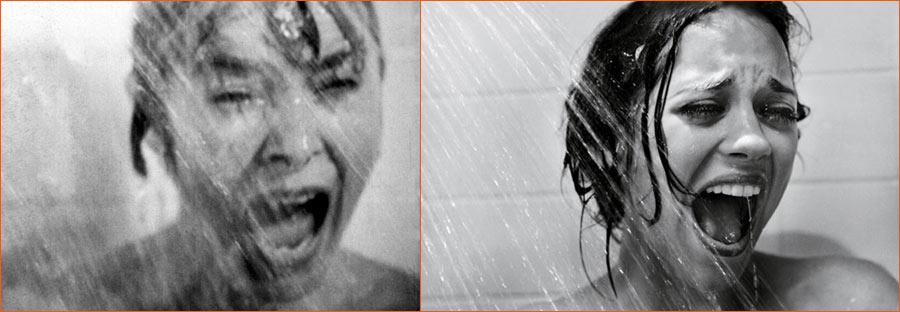 Psychose (Alfred Hitchcock) selon Mark Seliger avec Marion Cotillard en lieu et place de Janet Leigh.