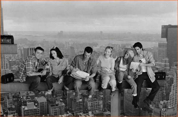 Friends version Lunch atop a Skyscraper.