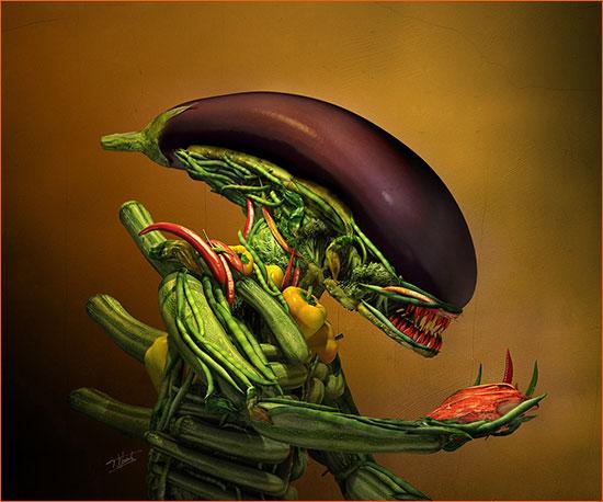 Alien selon Till Nowak façon Giuseppe Arcimboldo.
